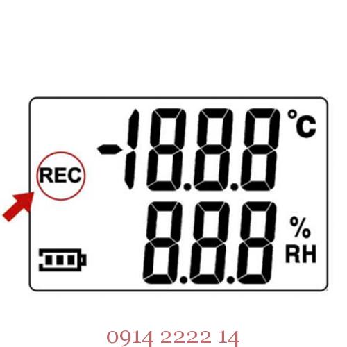 Màn hình LCD sẽ hiển thị REC khi nhiệt kế tự ghi bắt đầu ghi dữ liệu.