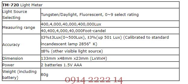 Đặc điểm kỹ thuật Tenmars TM-720